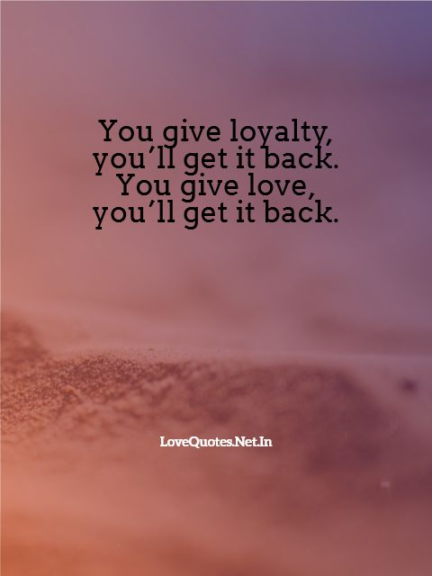 You Give Love, You'll Get It Back